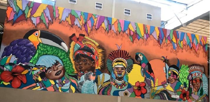 Alpha Square Mall tem painel com arte afro-indígena